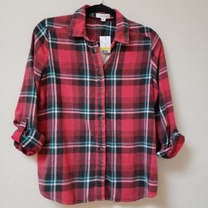 Taylor & Sage NWT Red Flannel w/ Lace Back